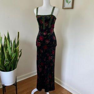 Vintage Betsey Johnson Velvet Floral Maxi Dress